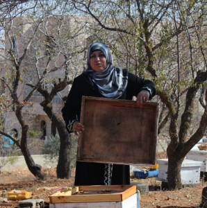 Neidee Hassan takes care of beehives in Qusra village in West Bank. She earns $25 for each kilo of honey sold.