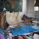 A classroom lies damaged following the overnight Israeli shelling of an UNRWA school where some 3,300 Palestinians were seeking shelter, Jabalia, Gaza Strip, July 30, 2014. Photo: ActiveStills