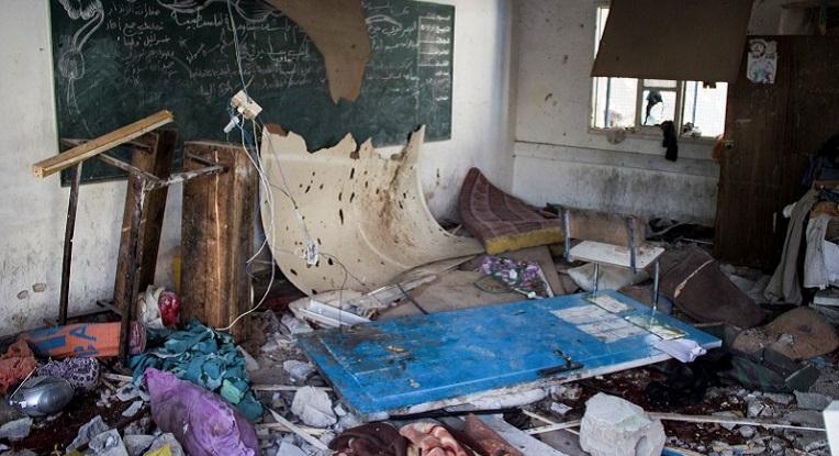 A classroom lies damaged following the overnight Israeli shelling of an UNRWA school where some 3,300 Palestinians were seeking shelter, Jabalia, Gaza Strip, July 30, 2014. Photo: ActiveStills