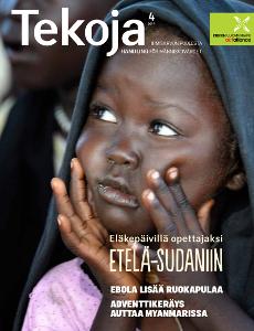 Tekoja-lehden 4/2014 kannessa Eläkepäivillä opettajaksi Etelä-Sudaniin