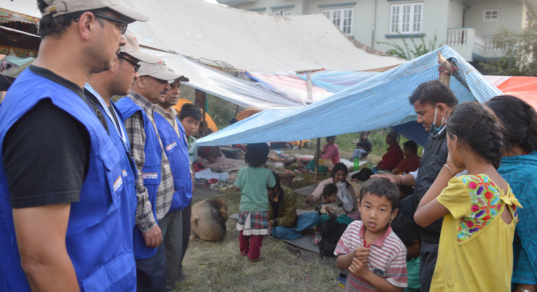 Finn Church Aid is providing relief materials, including Ready To Eat Food, to families living in makeshift tents in Kathmandu via its' partner The Lutheran World Federation. Photo: LWF Nepal.