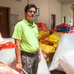 Lila Bashyal amidst relief supplies in Kathmandu.