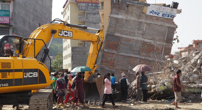 Maanjäristyksen tuhoja Kathmandussa. Kuva: Johanna Tervo.