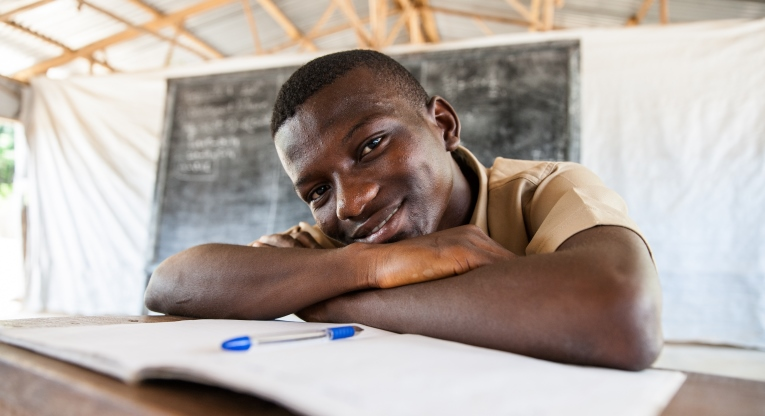 Secondary education in particular is often neglected in emergencies. In the photo is Benson Taquin from the secondary school of Bahn refugee camp. Photo: Jari Kivelä.
