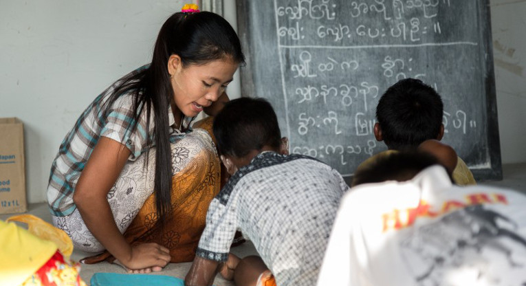 In Rakhine state, Myanmar, FCA promotes basic education for children and young people in camps for displaced Muslim and Buddhist populations.