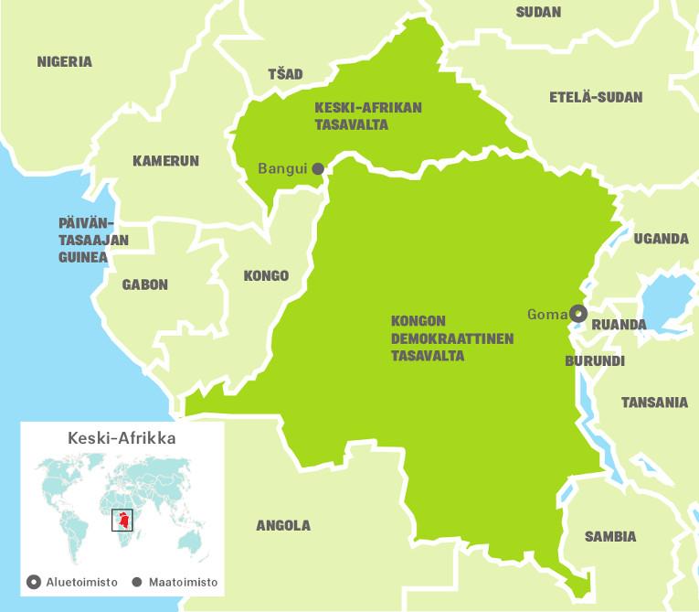Keski-Afrikan aluetoimiston kartta.
