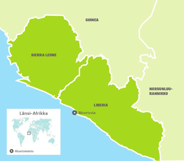 Länsi-Afrikan aluetoimiston kartta