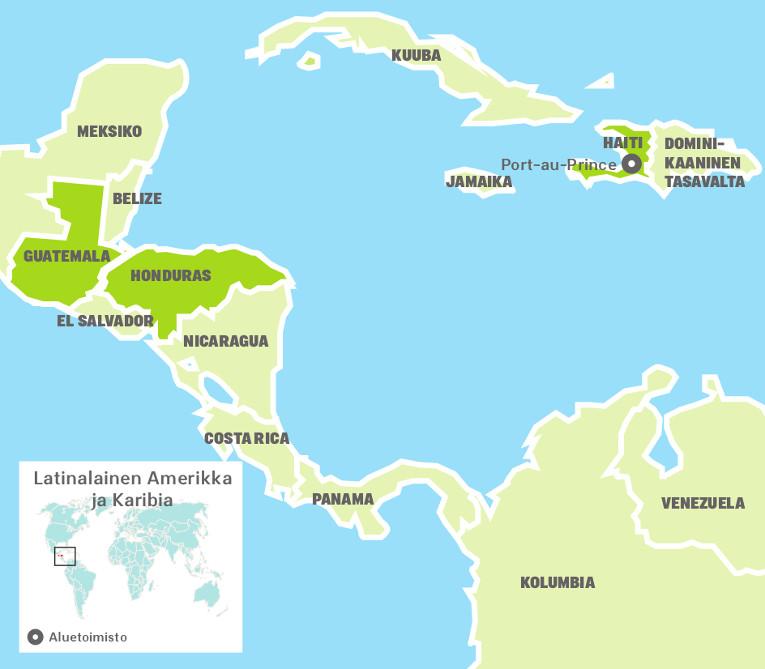 Kartta Ulkomaanavun toimintamaista Latinalaisessa Amerikassa ja Karibialla.
