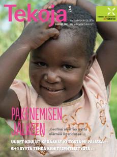 Tekoja-lehden 3/2015 kannessa Josefina, joka aloittaa uutta elämää Ugandassa pakolaisena.