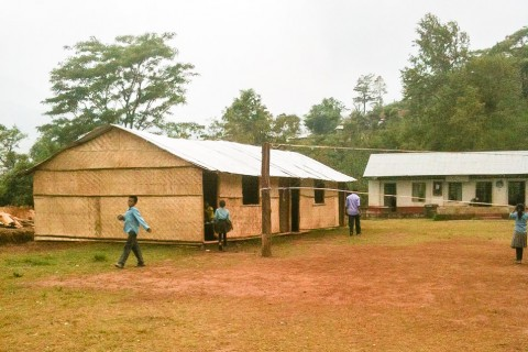 A finished bamboo school in Gimdi.