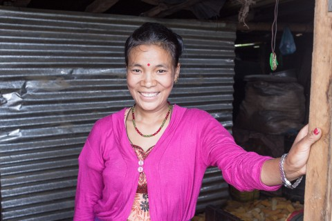 Smile has found its way back on the face of Sangita Thing, even though life after the earthquake is still difficult. Thing says she has received a small loan from the local cooperative, supported by the Women's Bank, and with it she will replace her destroyed vegetable plantation.