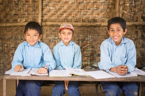 9-year-old Saugat Timalsina with his classmates.