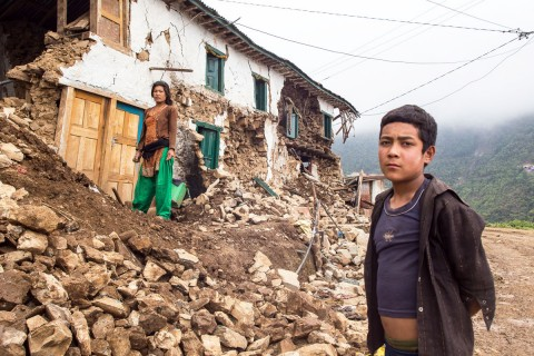 Main street in Bhattendada after the earthquake.