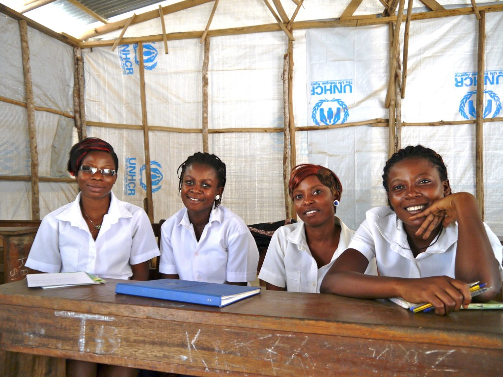Students at school in the Bahn refugee camp in Liberia.