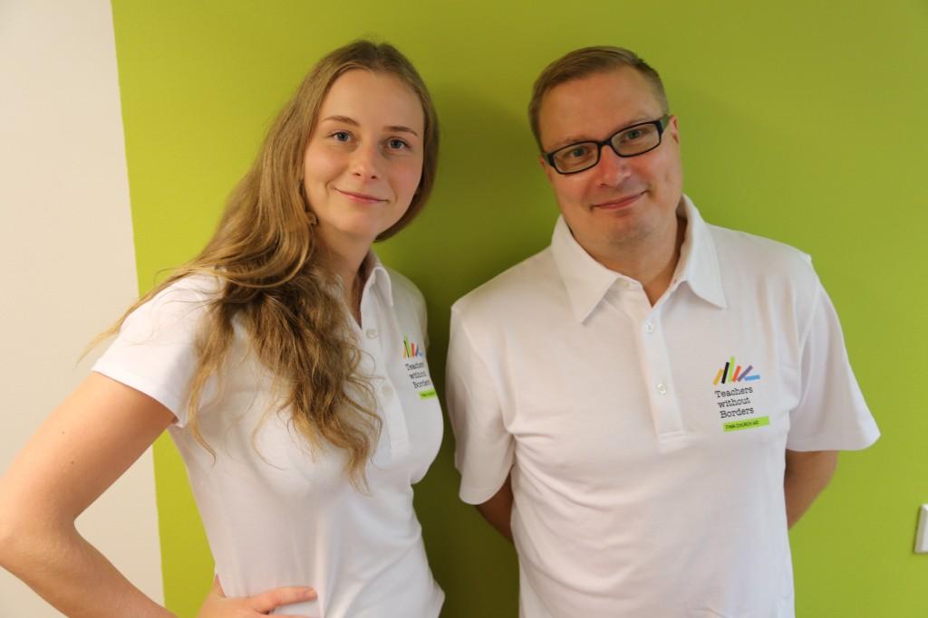 Teachers without Borders volunteers Katri Meriläinen and Jukka Tulivuori. Photo: Minna Törrönen