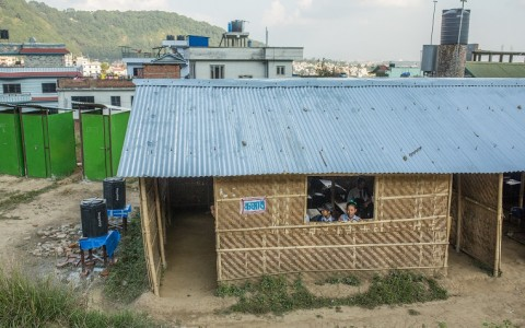 Bal Bikas School on the outskirts of Kathmandu. Finn Church Aid has been building temporary learning spaces in Nepal to ensure the continuation of school work despite the destroyed or severely damaged school buildings.