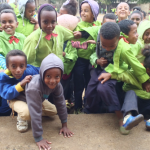 Enthusiastic pupils from the Medeber primary school. Pupils go to school in two shifts to make sure there's enough room for everyone.