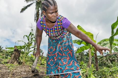 Joanna Golon, 42, kitkee pellolla rikkaruohoja. Äitien kerhon yhteisellä pellolla kasvaa banaania, paprikaa, munakoisoa, ananasta, maissia ja maapähkinää. Kuva: Ville Palonen.