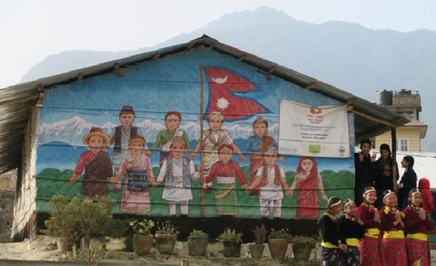 A local artist has decorated the temporary learning spaces of the Balajun School in Lalitpur. Photo: Johanna Arponen