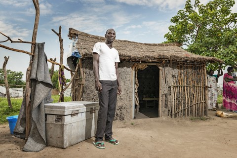 Akim Awowo lives with his two wives and 1-year-old daughter. He hopes to earn enough money from fishing to be able to educate his daughter. Awowo himself has only gone to school for one year.