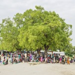 In South Sudan, people gather under the trees to shop, to dance or to listen the priest. Photo: Ville Palonen