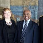 Presidential Adviser Yemane Ghebreab from Eritrea (left), Chairperson Tarja Kantola, Eritrean Minister of Foreign Affairs Osman Saleh Mohammed and Ambassador Yonas Manna met at Finn Church Aid on Thursday April 14th.