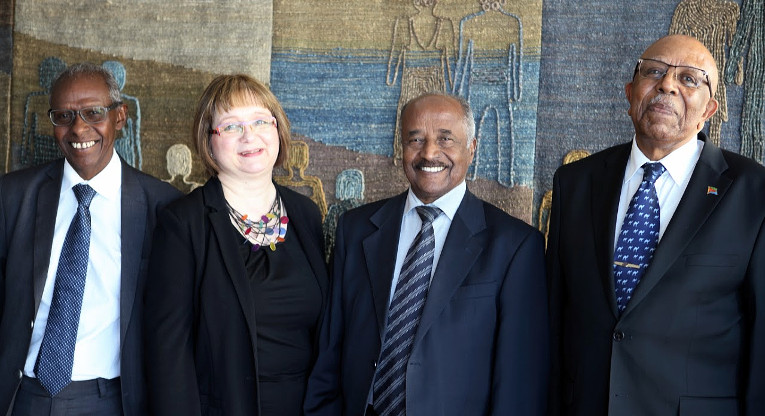 Presidential Adviser Yemane Ghebreab from Eritrea (left), Chairperson Tarja Kantola, Eritrean Minister of Foreign Affairs Osman Saleh Mohammed and Ambassador Yonas Manna met at Finn Church Aid on Thursday April 14th.