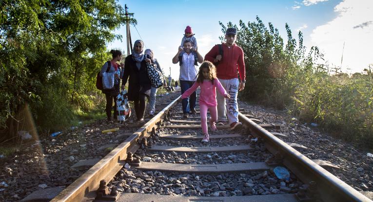 Paklolaisia ylittämäsäs unkarin rajaa syyskuussa 2015. Kuva: Fekete Dániel/HIA-Hungary/ACT-allianssi.