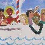 Lasten ja nuorten yhdessä tekemä maalaus kuvaa venematkaa.