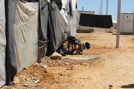 There are many disabled people living at the Azraq refugee camp in Jordan.
