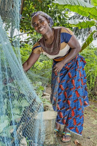 """Thanks to the new method of cultivation I have learned, I can now grow them throughout the year."" Fatu Cooper, 39-years-old, Glozon, Liberia. Women's Bank livelihood project."