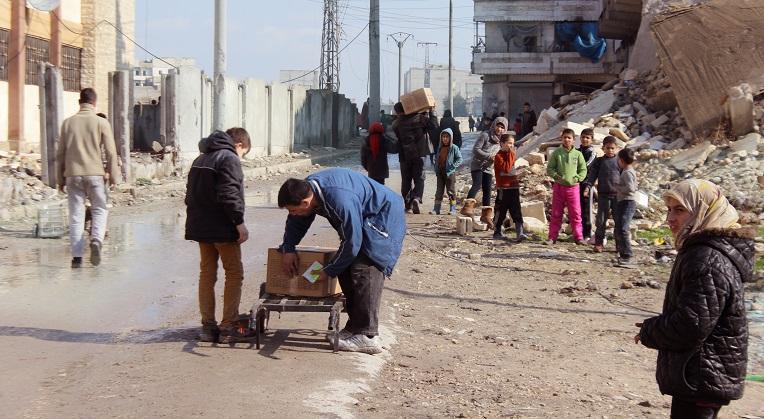 Kirkon Ulkomaanapu toimittaa ruoka-apua Aleppon kaupunkiin Syyriassa.