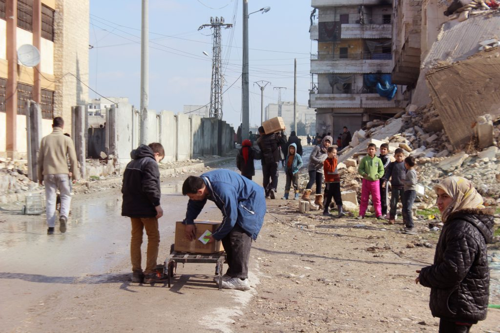 Finn Church Aid delivers food aid to Aleppo in cooperation with International Orthodox Christian Charities (IOCC). Photo: IOCC