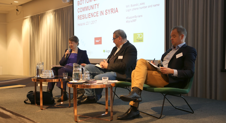 Key note speaker Ms. Helen Clark (on the left) emphasized the importance of social cohesion and supporting the Syrian's own plans and actors in Helsinki on January 23, in an event organised by civil society organisations . In the middle Mr. Omar Abdulaziz Hallaj (Common Space Initiative) and on the right Mr. Sami Lahdensuo (CMI). Photo: Ville Nykänen.