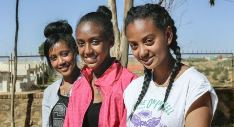 """""""When I graduate, I want to help those who are less fortunate, particularly the homeless"""", says Ariam Yosief (left), here with Soliana Mebrahtu (centre) and Saroju Zeru."""