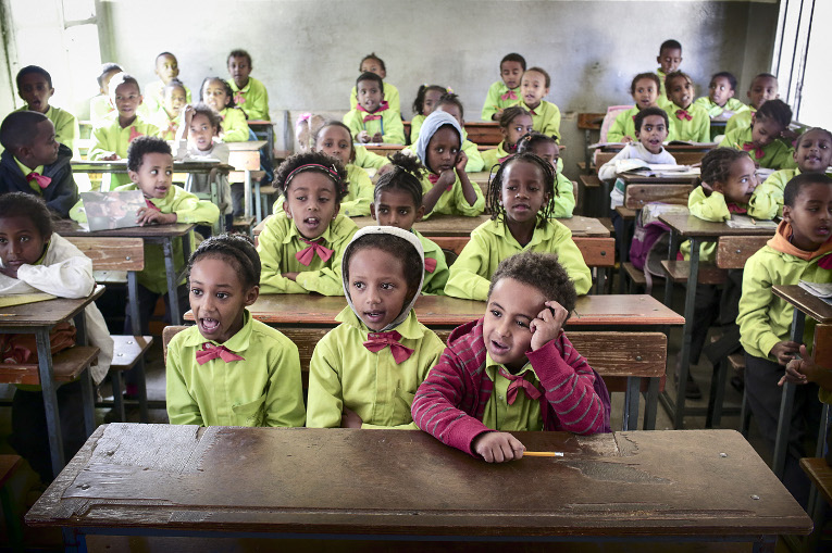 Pupils at class in Sewra Elementary School in Asmara.