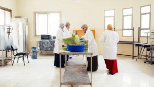 Neljä naista laboratoriotakit päällä työskentelemässä pöydän ääressä.