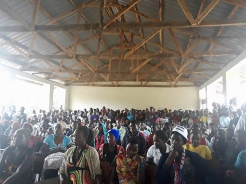 New students from Rwamwanja refugee settlement and the host community gathered for orientation day in late August. Photo: FCA/ Lilian Musoki