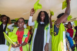 Graduates from FCA's vocational training celebrating in Katwe, Uganda