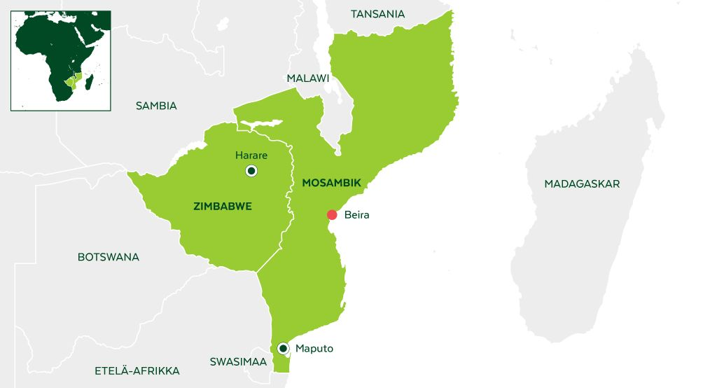 Tulvat aiheuttaneet laajaa tuhoa Mosambikissa.