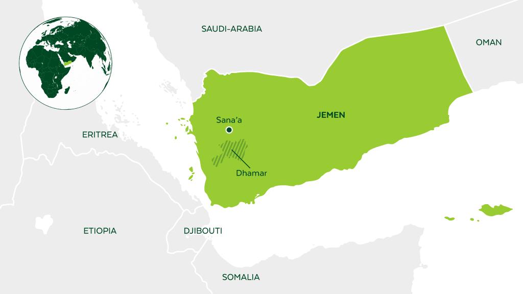 Dhamarin alue Sanaasta etelään merkittynä Jemenin karttaan.