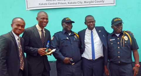 Law enforcement officers at the project launch event April 10 in Kakata Prison in Margibi County.