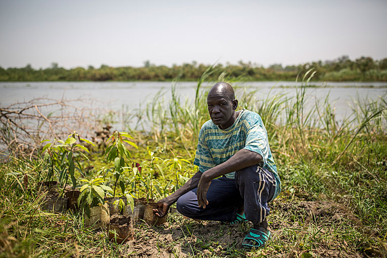 South Sudanese Samuel Gony Gory grows mango trees.