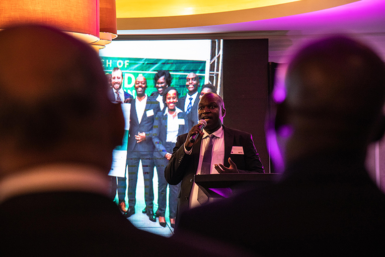 Dr. Edward Isingoma, Managing Parnter for PCP / Yield Fund speaking at the launch event. Photo: Erik Nyström / FCA