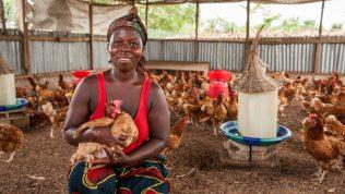 Ugandalainen nainen pitelee kanaa sylissään kanalassa.