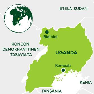 Ugandan kartta jossa näkyy Bidibidin pakolaisasutusalueen sijainti
