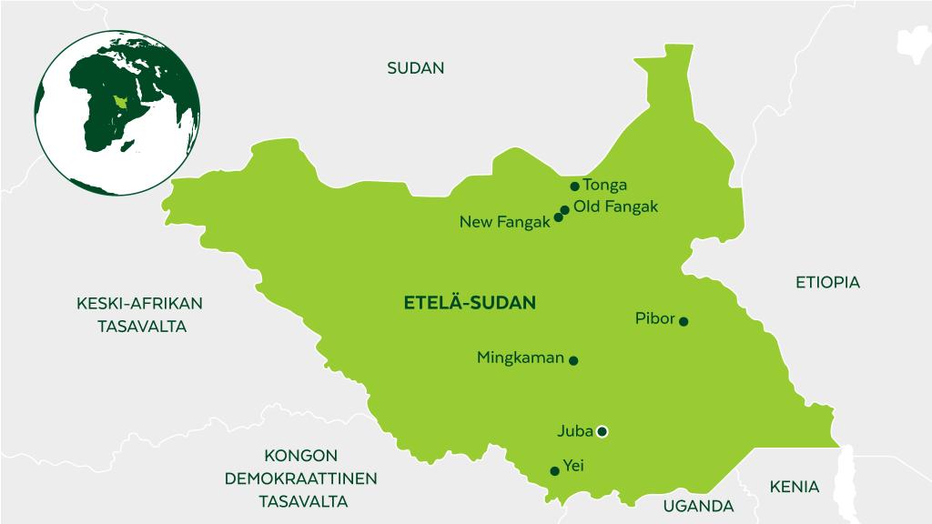 Etelä-Sudanin kartta.