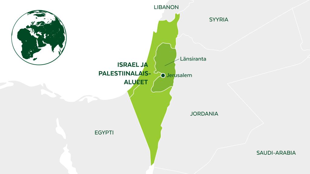 Israelin ja Palestiinalaisalueiden kartta.