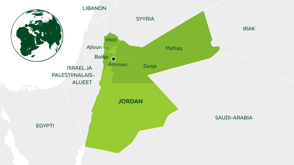 Tuemme Syyriasta paenneita Za'atarin ja Azraqin pakolaisleireillä sekä pääkaupunki Ammanissa.