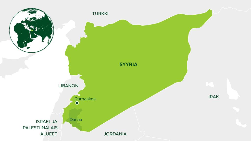 Syyriassa työmme keskittyy koulutussektorin tukemiseen, jotta lapset pääsisivät kouluun myös konfliktin keskellä. Lisäksi opettajille on annettu täydennyskoulutusta, joka vahvistaa heidän osaamistaan konfliktista kärsineiden oppijoiden tukemisessa.